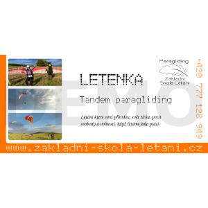 Tandem paragliding - prodloužený let - Letenka